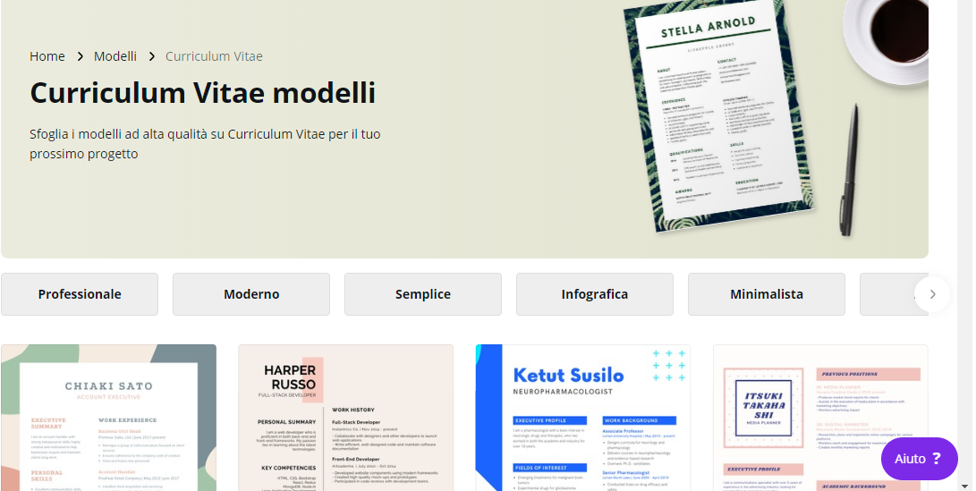Creare curriculum creativo su canva