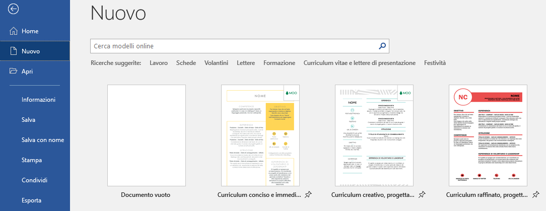 Creare curriculum con word